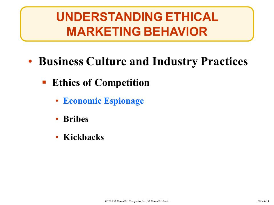 © 2006 McGraw-Hill Companies, Inc., McGraw-Hill/Irwin UNDERSTANDING ETHICAL MARKETING BEHAVIOR Slide 4-14 Business Culture and Industry Practices  Ethics of Competition Economic Espionage Economic Espionage Bribes Kickbacks