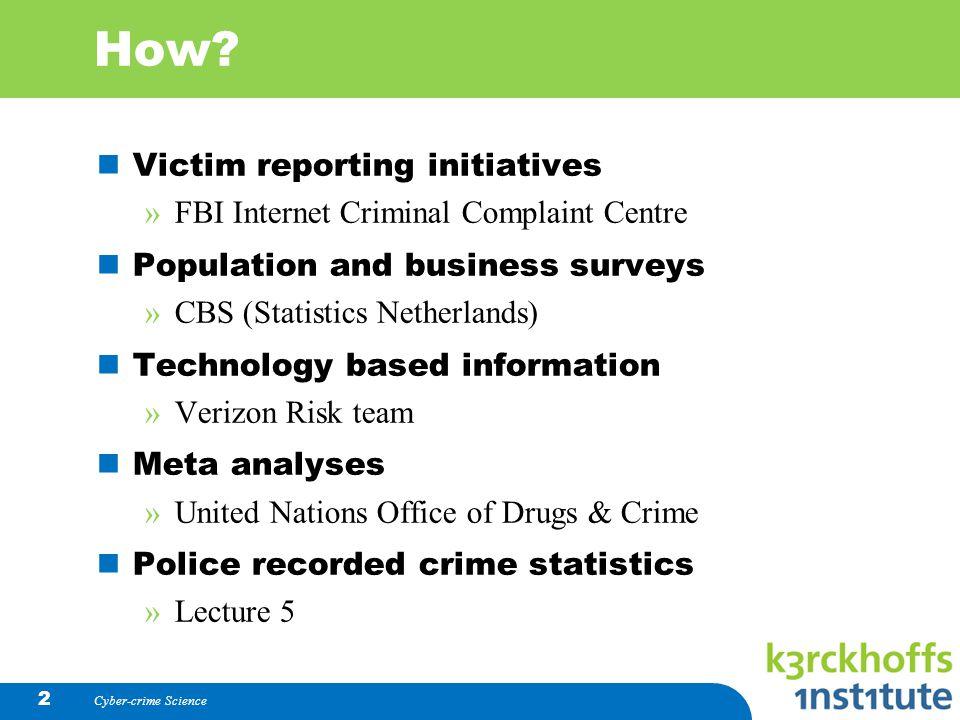 Measuring Cybercrime Pieter Hartel  How? Victim reporting