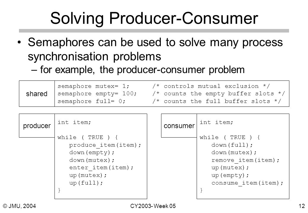 © JMU, 2004CY2003- Week 0512 Solving Producer-Consumer Semaphores can be used to solve many process synchronisation problems –for example, the producer-consumer problem semaphore mutex= 1;/* controls mutual exclusion */ semaphore empty= 100;/* counts the empty buffer slots */ semaphore full= 0;/* counts the full buffer slots */ shared int item; while ( TRUE ) { produce_item(item); down(empty); down(mutex); enter_item(item); up(mutex); up(full); } producer int item; while ( TRUE ) { down(full); down(mutex); remove_item(item); up(mutex); up(empty); consume_item(item); } consumer