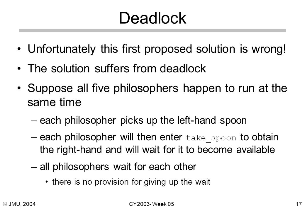 © JMU, 2004CY2003- Week 0517 Deadlock Unfortunately this first proposed solution is wrong.