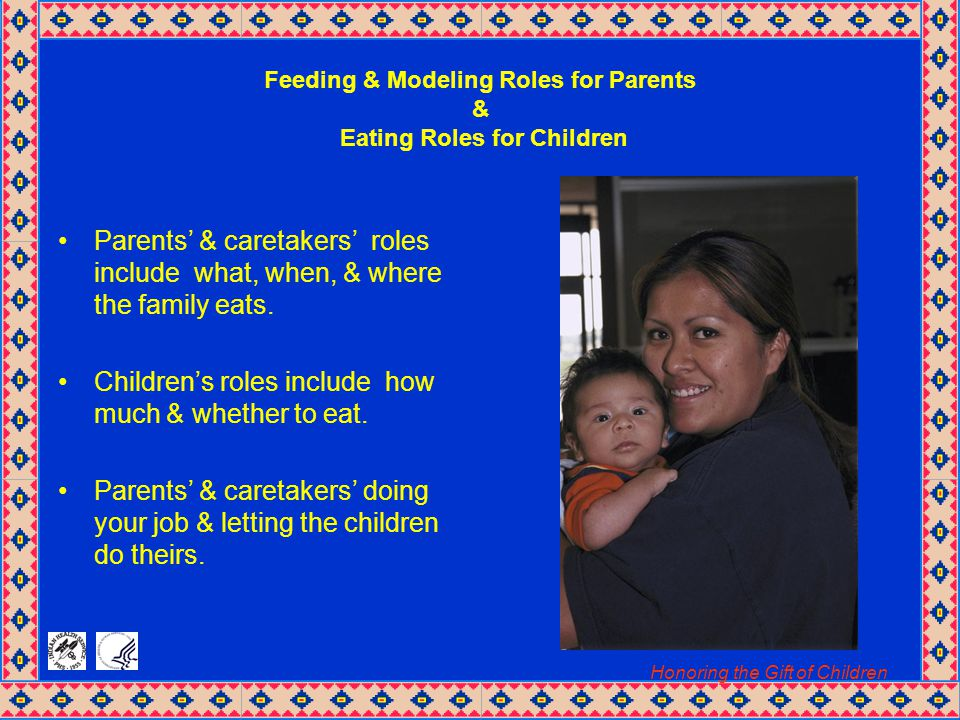 Honoring the Gift of Children Feeding & Modeling Roles for Parents & Eating Roles for Children Parents' & caretakers' roles include what, when, & where the family eats.