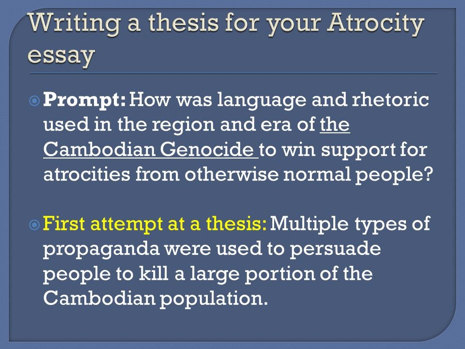  Prompt: How was language and rhetoric used in the region and era of the Cambodian Genocide to win support for atrocities from otherwise normal people.