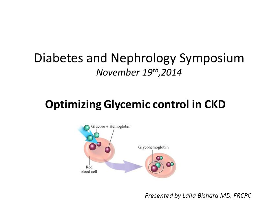 Diabetes and Nephrology Symposium November 19 th,2014 Optimizing Glycemic control in CKD Presented by Laila Bishara MD, FRCPC