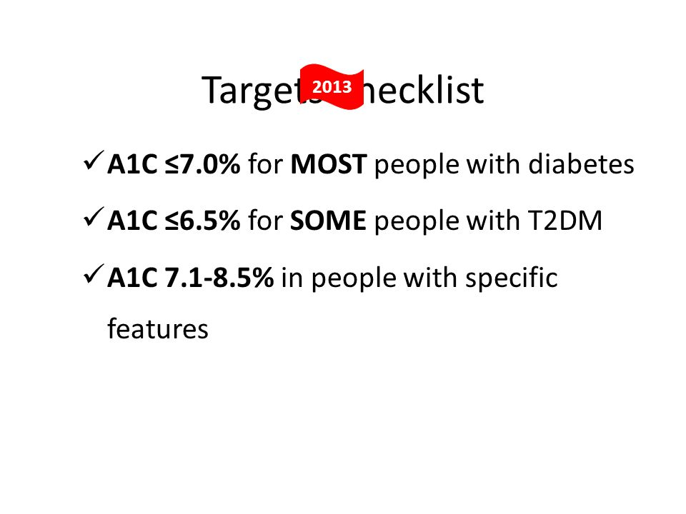 Targets Checklist A1C ≤7.0% for MOST people with diabetes A1C ≤6.5% for SOME people with T2DM A1C % in people with specific features 2013