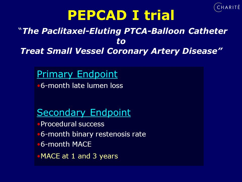 Primary Endpoint 6-month late lumen loss Secondary Endpoint Procedural success 6-month binary restenosis rate 6-month MACE MACE at 1 and 3 years PEPCAD I trial The Paclitaxel-Eluting PTCA-Balloon Catheter to Treat Small Vessel Coronary Artery Disease
