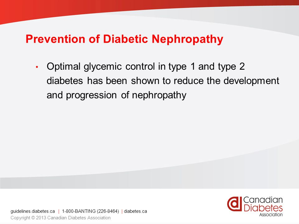 guidelines.diabetes.ca | BANTING ( ) | diabetes.ca Copyright © 2013 Canadian Diabetes Association Optimal glycemic control in type 1 and type 2 diabetes has been shown to reduce the development and progression of nephropathy Prevention of Diabetic Nephropathy