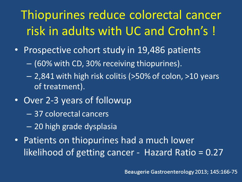 Thiopurines reduce colorectal cancer risk in adults with UC and Crohn's .