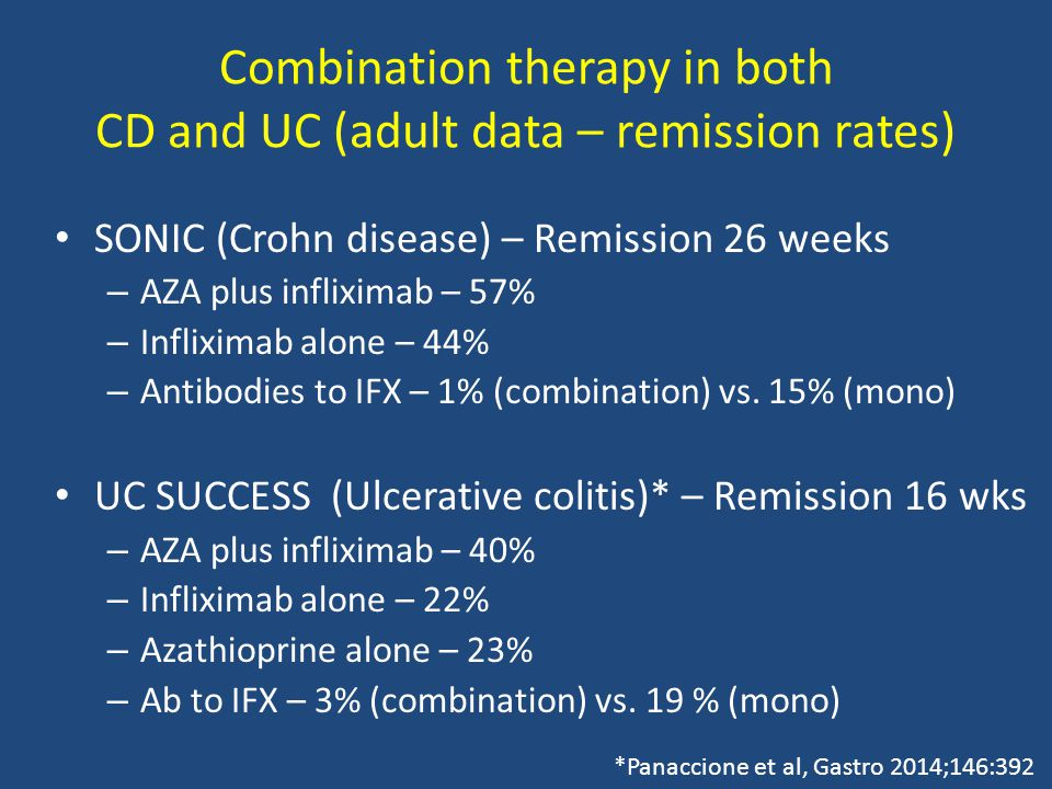 Combination therapy in both CD and UC (adult data – remission rates) SONIC (Crohn disease) – Remission 26 weeks – AZA plus infliximab – 57% – Infliximab alone – 44% – Antibodies to IFX – 1% (combination) vs.