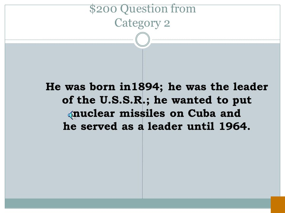$100 Answer from Category 2 Joseph McCarthy