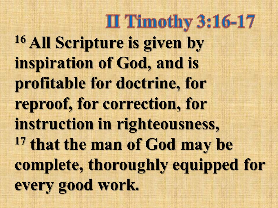 16 All Scripture Is Given By Inspiration Of God And Is Profitable