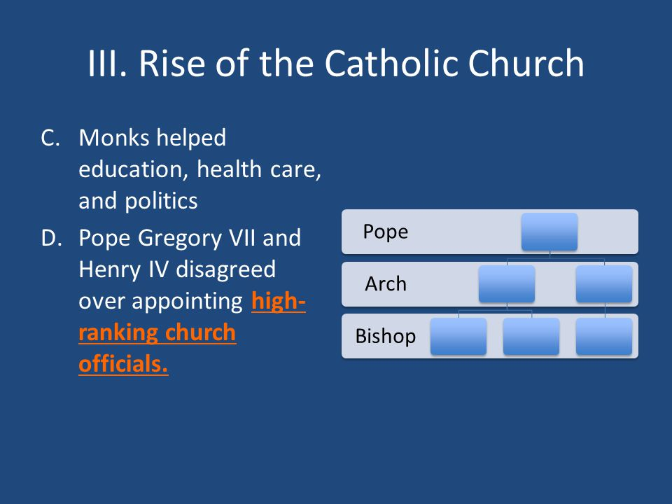 III. Rise of the Catholic Church C.Monks helped education, health care, and politics