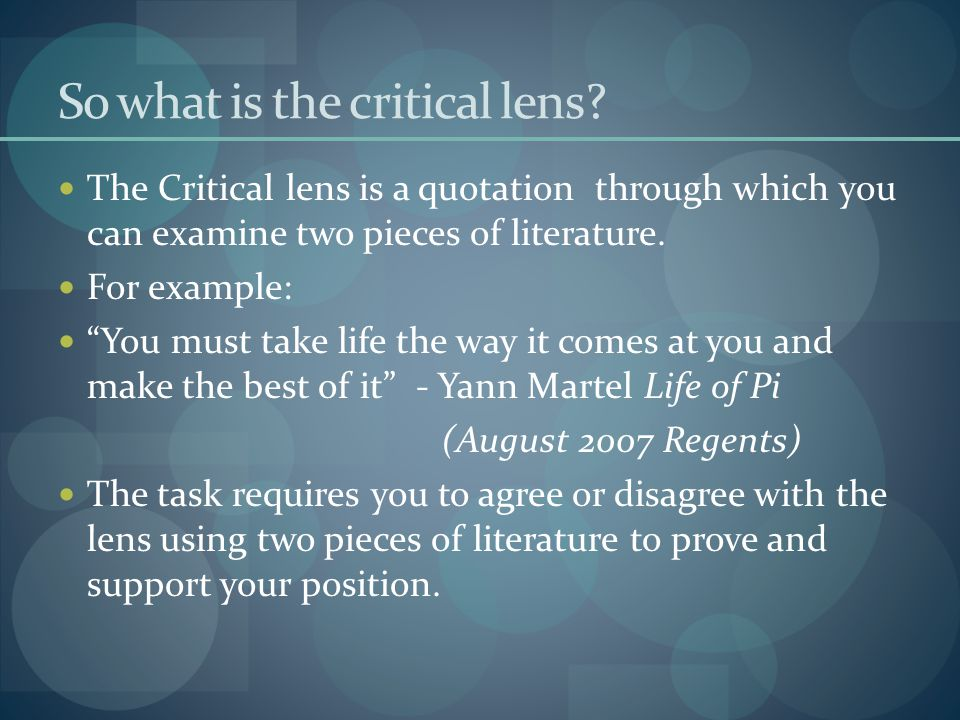 So what is the critical lens.