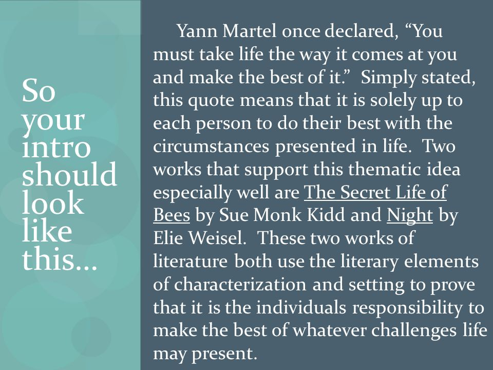 So your intro should look like this… Yann Martel once declared, You must take life the way it comes at you and make the best of it. Simply stated, this quote means that it is solely up to each person to do their best with the circumstances presented in life.