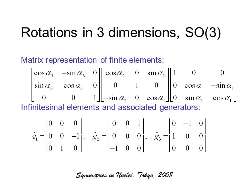 Symmetries in Nuclei, Tokyo, 2008 Rotations in 3 dimensions, SO(3) Matrix representation of finite elements: Infinitesimal elements and associated generators:
