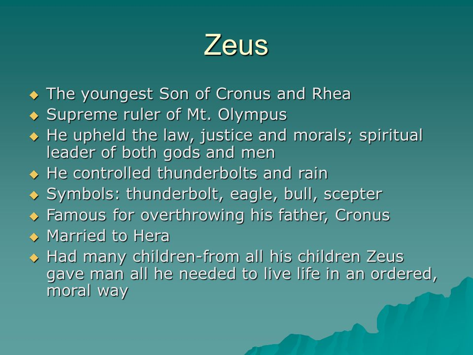 The Greek Gods And Goddesses Zeus Zeus The Youngest Son Of