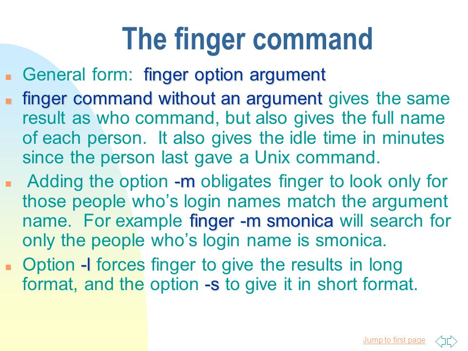 Jump to first page who The who command n Since Unix is a time-sharing system, several people can use the system at the same time.
