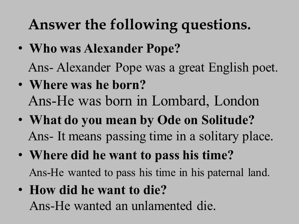 summary of solitude by alexander pope