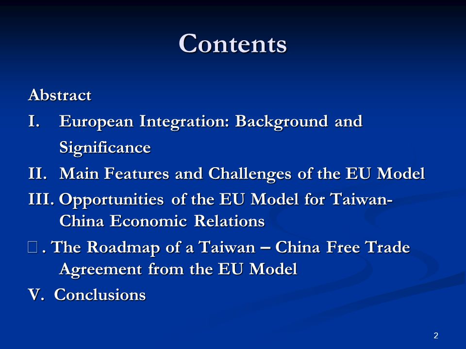 1 What Lessons From The Eu Model For A Taiwan China Free Trade