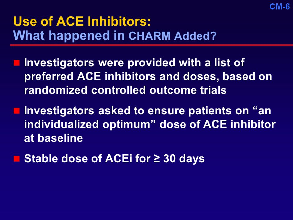 CM-6 Use of ACE Inhibitors: What happened in CHARM Added.