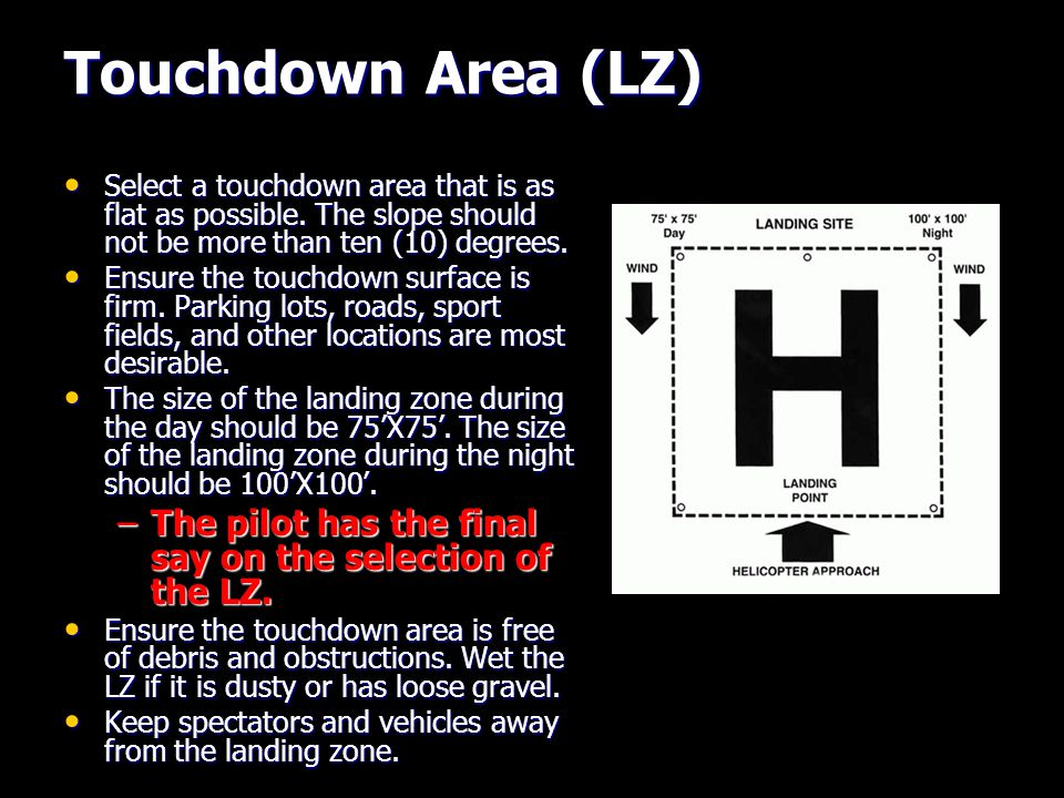 Touchdown Area (LZ) Select a touchdown area that is as flat as possible.