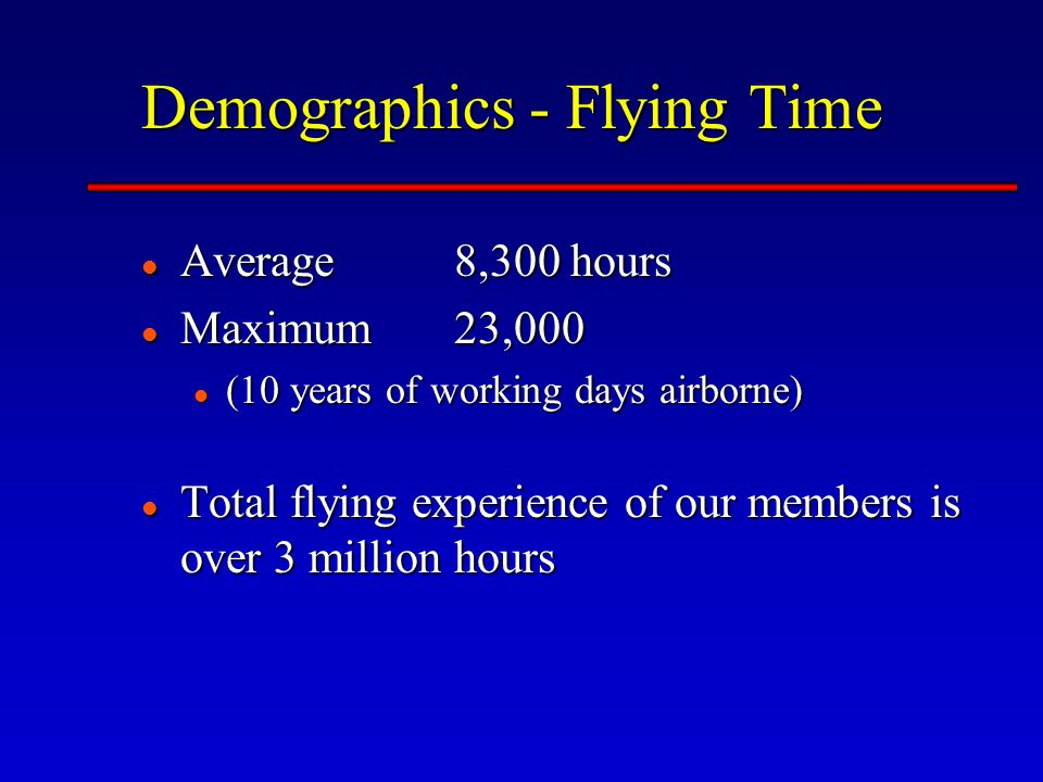 Demographics - Flying Time Average 8,300 hours Average 8,300 hours Maximum 23,000 Maximum 23,000 (10 years of working days airborne) (10 years of working days airborne) Total flying experience of our members is over 3 million hours Total flying experience of our members is over 3 million hours