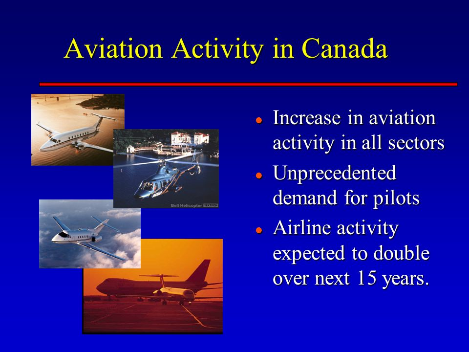 Aviation Activity in Canada Increase in aviation activity in all sectors Increase in aviation activity in all sectors Unprecedented demand for pilots Unprecedented demand for pilots Airline activity expected to double over next 15 years.