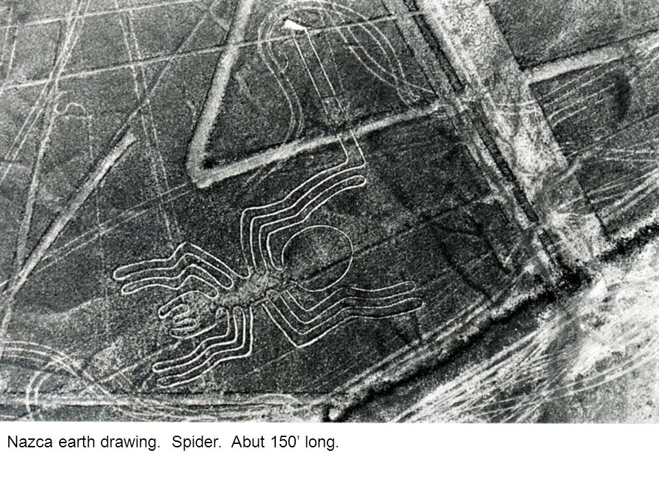Nazca earth drawing. Spider. Abut 150' long.