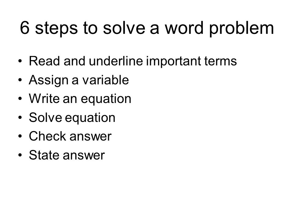 solving equations with word problems