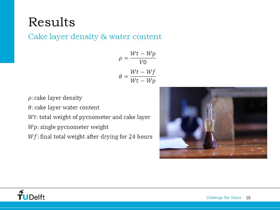 16 Challenge the future Results Cake layer density & water content