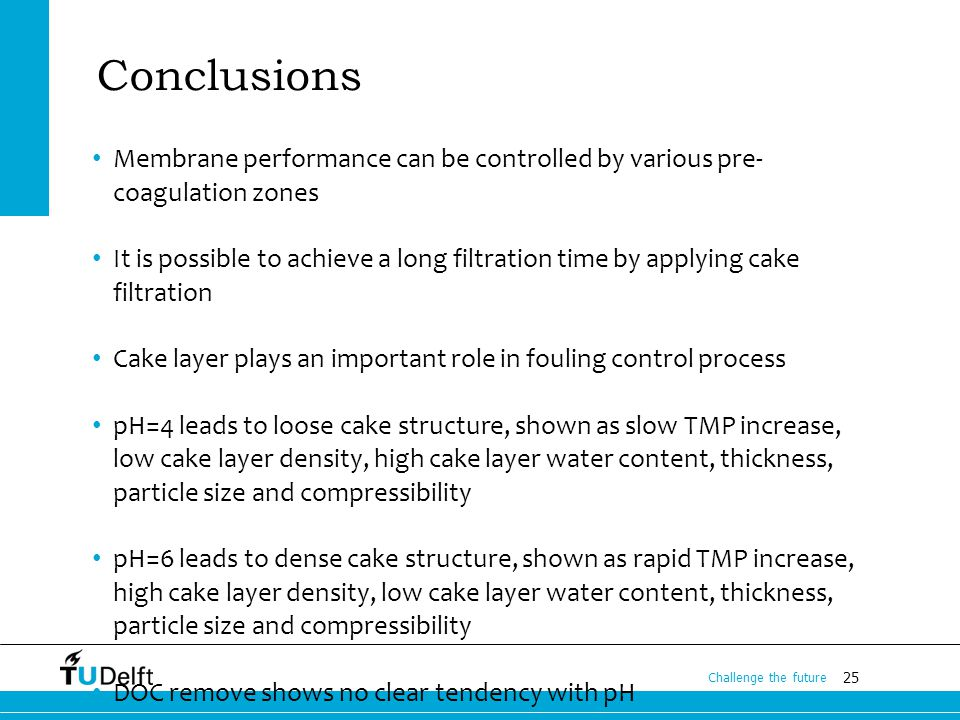 25 Challenge the future Conclusions Membrane performance can be controlled by various pre- coagulation zones It is possible to achieve a long filtration time by applying cake filtration Cake layer plays an important role in fouling control process pH=4 leads to loose cake structure, shown as slow TMP increase, low cake layer density, high cake layer water content, thickness, particle size and compressibility pH=6 leads to dense cake structure, shown as rapid TMP increase, high cake layer density, low cake layer water content, thickness, particle size and compressibility DOC remove shows no clear tendency with pH