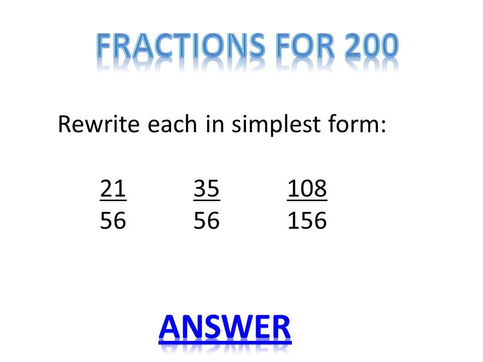 simplest form 21/35  Name that PropertyFractionsDecimalsGCF & LCMProblems ppt ...