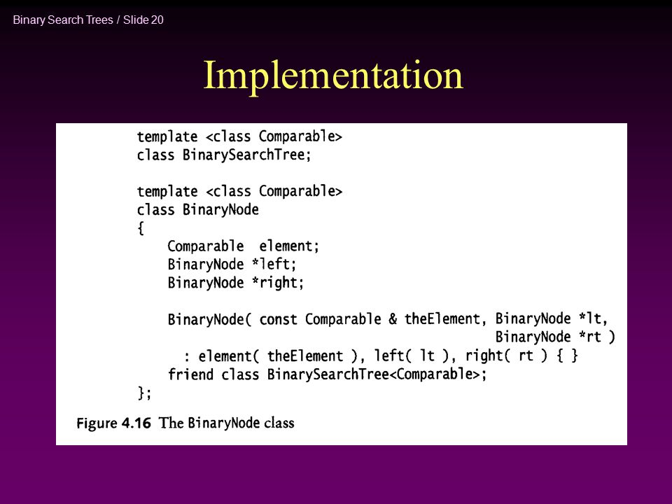 Binary Search Trees / Slide 20 Implementation