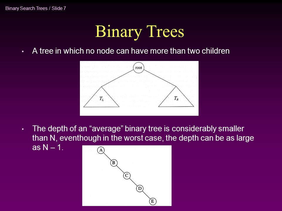 Binary Search Trees / Slide 7 Binary Trees A tree in which no node can have more than two children The depth of an average binary tree is considerably smaller than N, eventhough in the worst case, the depth can be as large as N – 1.