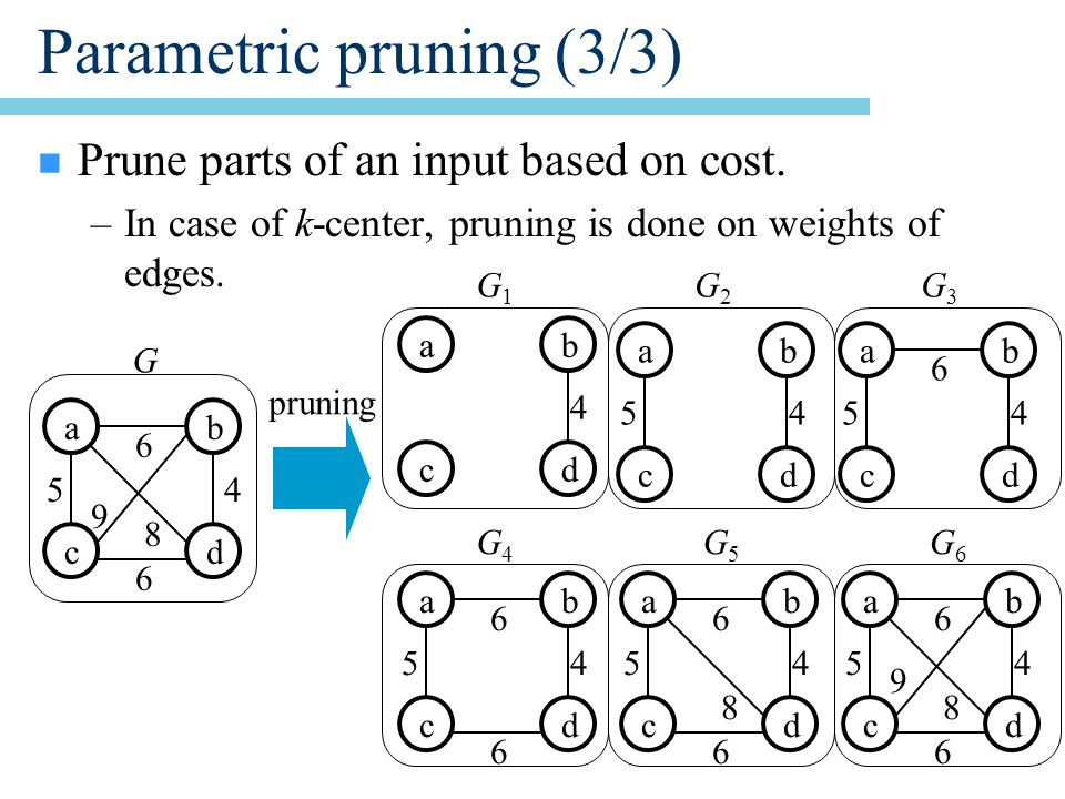 Parametric pruning (3/3) n Prune parts of an input based on cost.