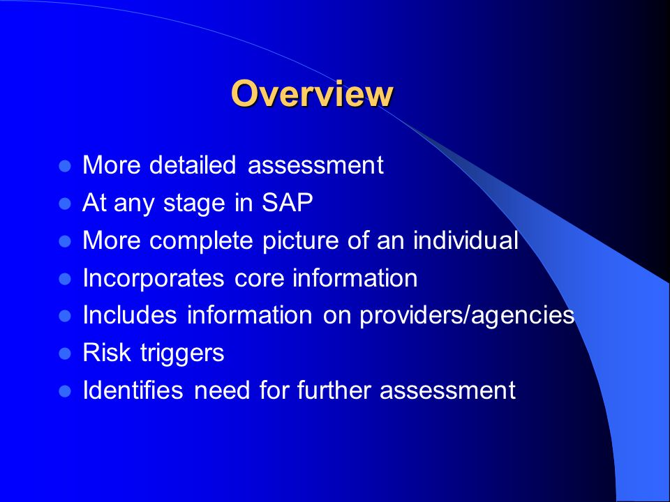 Overview More detailed assessment At any stage in SAP More complete picture of an individual Incorporates core information Includes information on providers/agencies Risk triggers Identifies need for further assessment