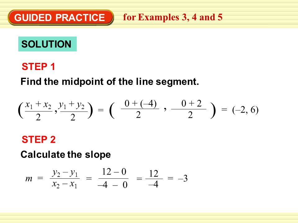 EXAMPLE 4 SOLUTION STEP 1 Find the midpoint of the line segment.