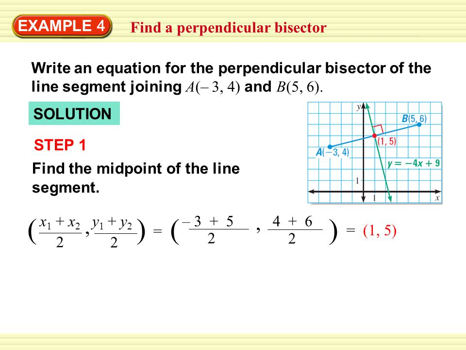 Find a perpendicular bisector EXAMPLE 4 SOLUTION STEP 1 Find the midpoint of the line segment.