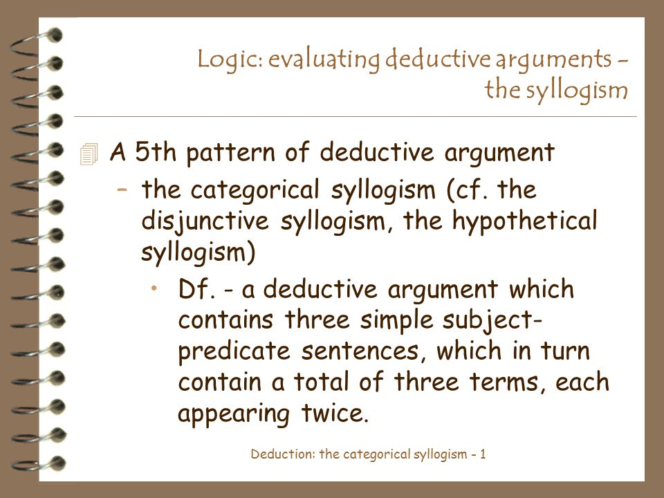 Publishing Deductive Reasoning and the Argument Composition Utilizing Syllogisms