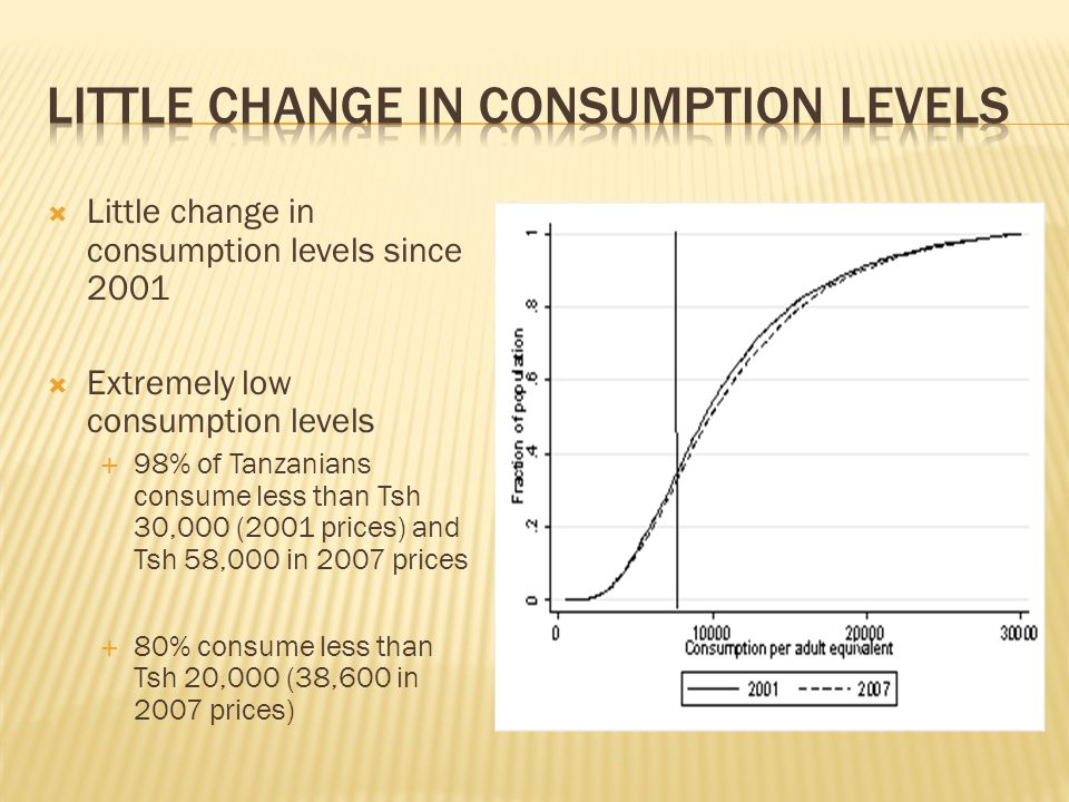  Little change in consumption levels since 2001  Extremely low consumption levels  98% of Tanzanians consume less than Tsh 30,000 (2001 prices) and Tsh 58,000 in 2007 prices  80% consume less than Tsh 20,000 (38,600 in 2007 prices)