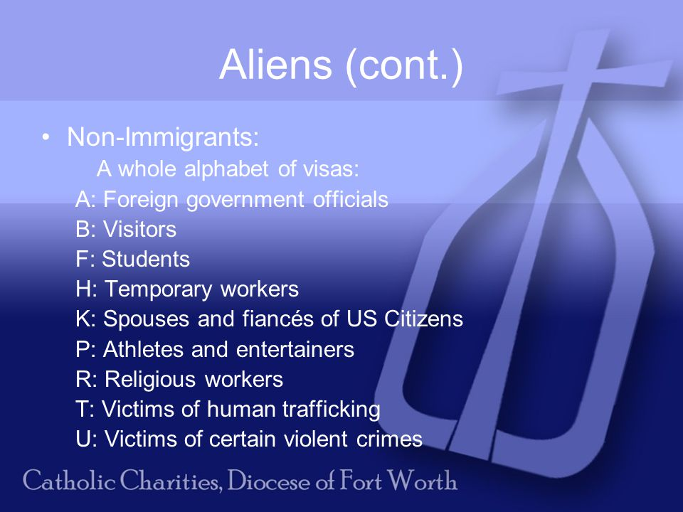 Aliens (cont.) Non-Immigrants: A whole alphabet of visas: A: Foreign government officials B: Visitors F: Students H: Temporary workers K: Spouses and fiancés of US Citizens P: Athletes and entertainers R: Religious workers T: Victims of human trafficking U: Victims of certain violent crimes