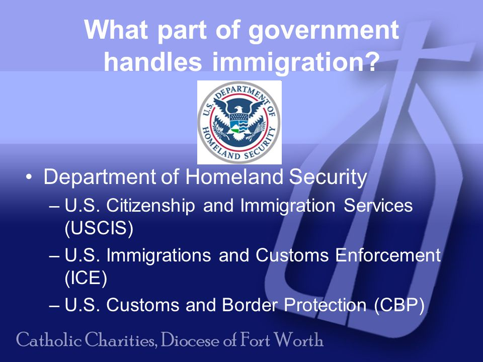 What part of government handles immigration. Department of Homeland Security –U.S.