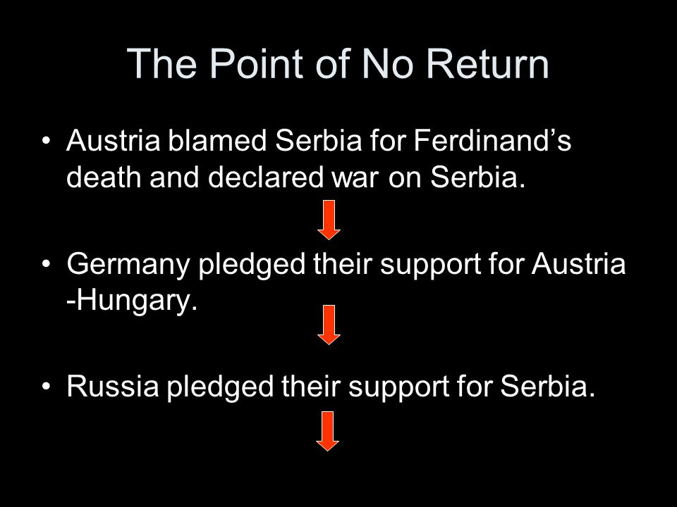 The Point of No Return Austria blamed Serbia for Ferdinand's death and declared war on Serbia.