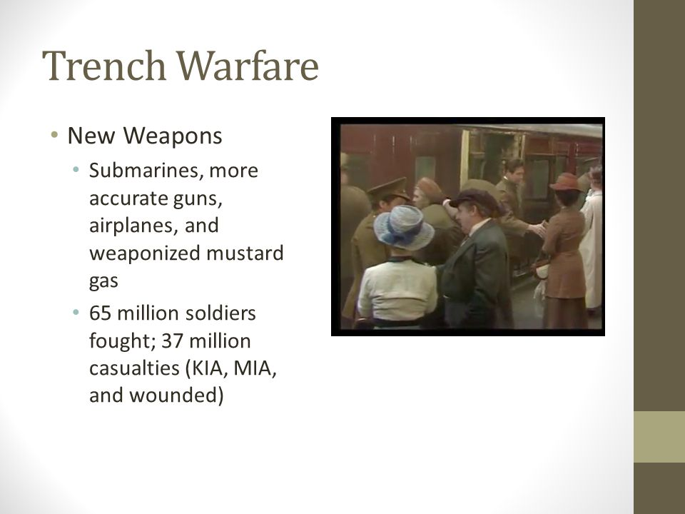 Trench Warfare New Weapons Submarines, more accurate guns, airplanes, and weaponized mustard gas 65 million soldiers fought; 37 million casualties (KIA, MIA, and wounded)