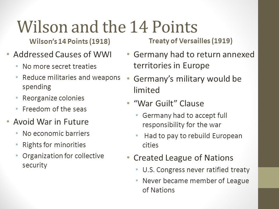 Wilson and the 14 Points Wilson's 14 Points (1918) Addressed Causes of WWI No more secret treaties Reduce militaries and weapons spending Reorganize colonies Freedom of the seas Avoid War in Future No economic barriers Rights for minorities Organization for collective security Treaty of Versailles (1919) Germany had to return annexed territories in Europe Germany's military would be limited War Guilt Clause Germany had to accept full responsibility for the war Had to pay to rebuild European cities Created League of Nations U.S.