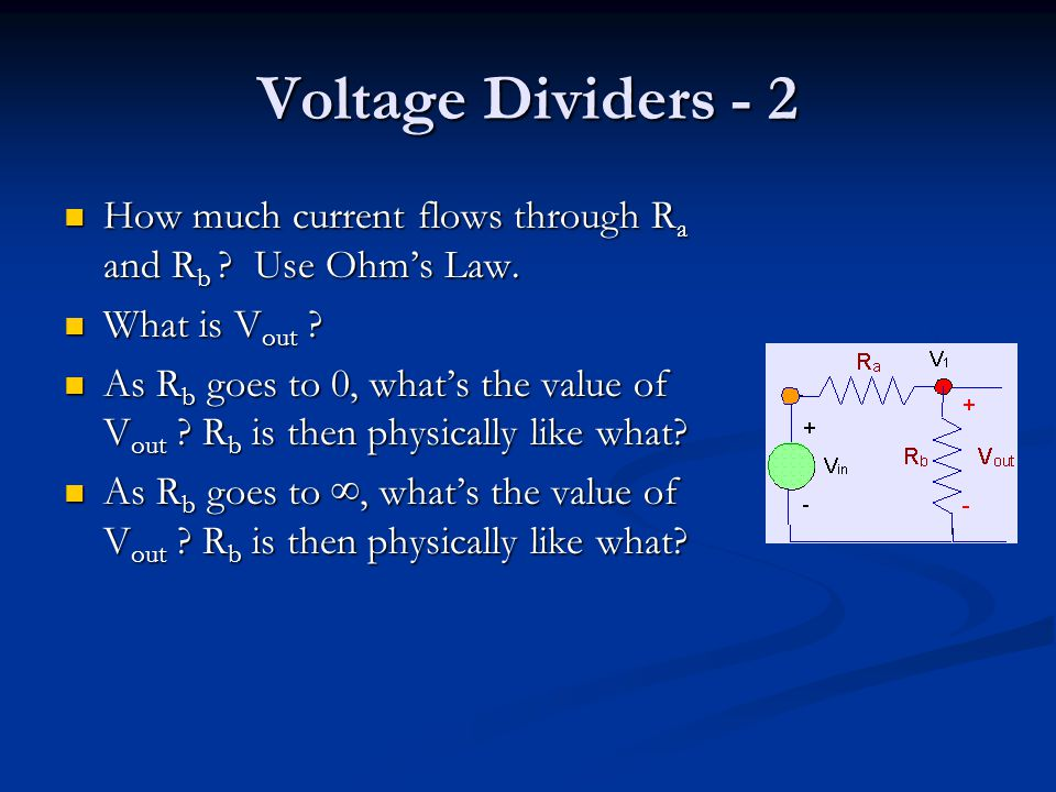 Voltage Dividers - 2 How much current flows through R a and R b .