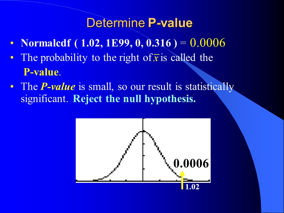 Determine P-value Normalcdf ( 1.02, 1E99, 0, ) = The probability to the right of is called the P-value.