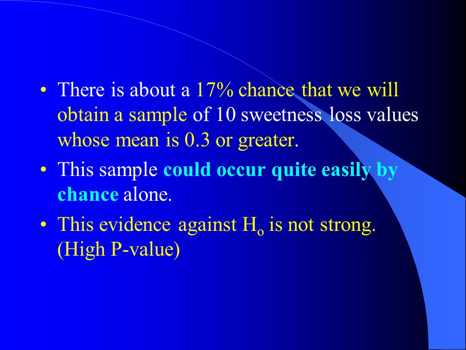 There is about a 17% chance that we will obtain a sample of 10 sweetness loss values whose mean is 0.3 or greater.