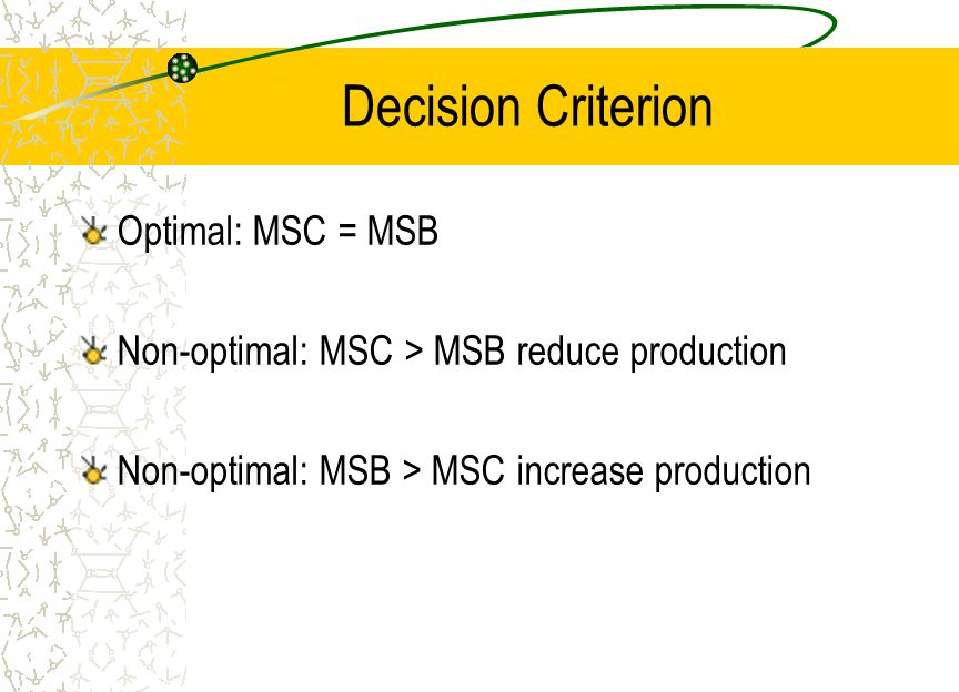 Decision Criterion Optimal: MSC = MSB Non-optimal: MSC > MSB reduce production Non-optimal: MSB > MSC increase production