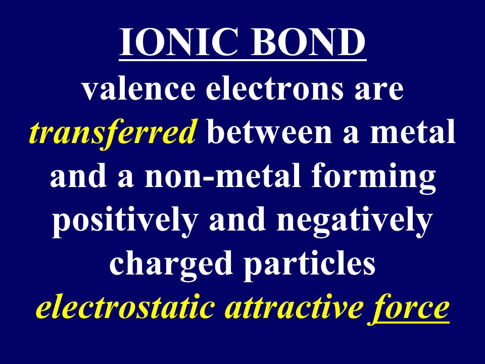 IONIC BOND valence electrons are transferred between a metal and a non-metal forming positively and negatively charged particles electrostatic attractive force