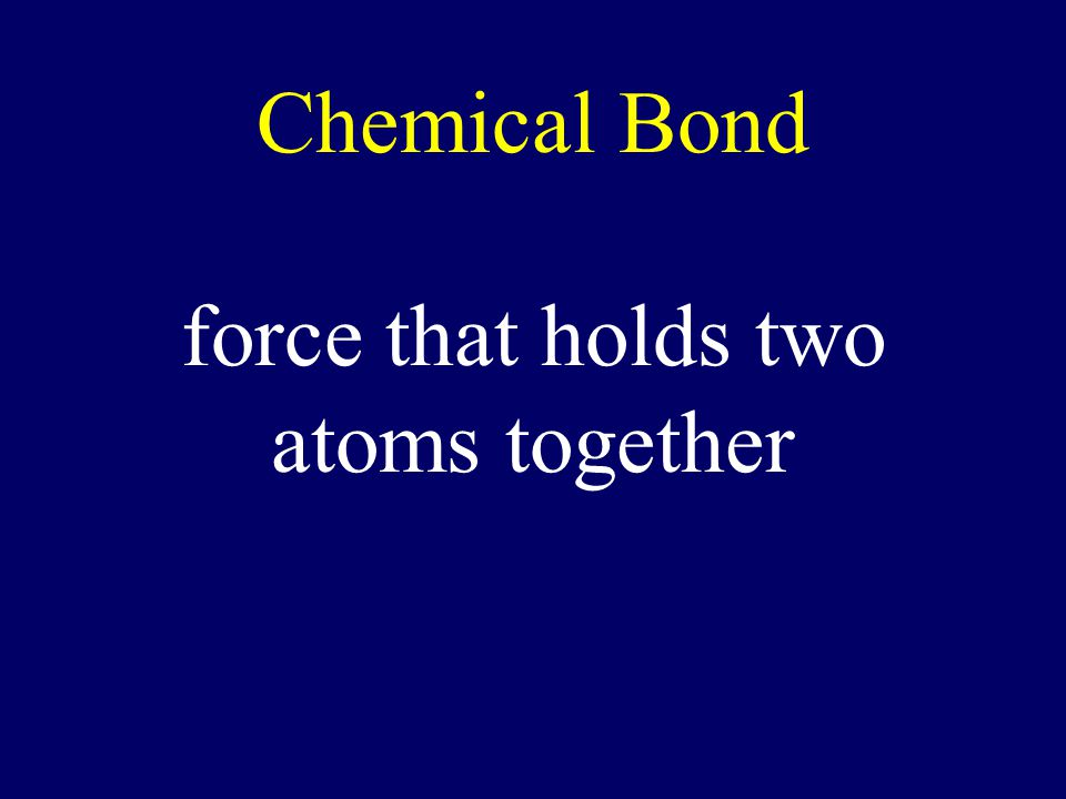 Chemical Bond force that holds two atoms together